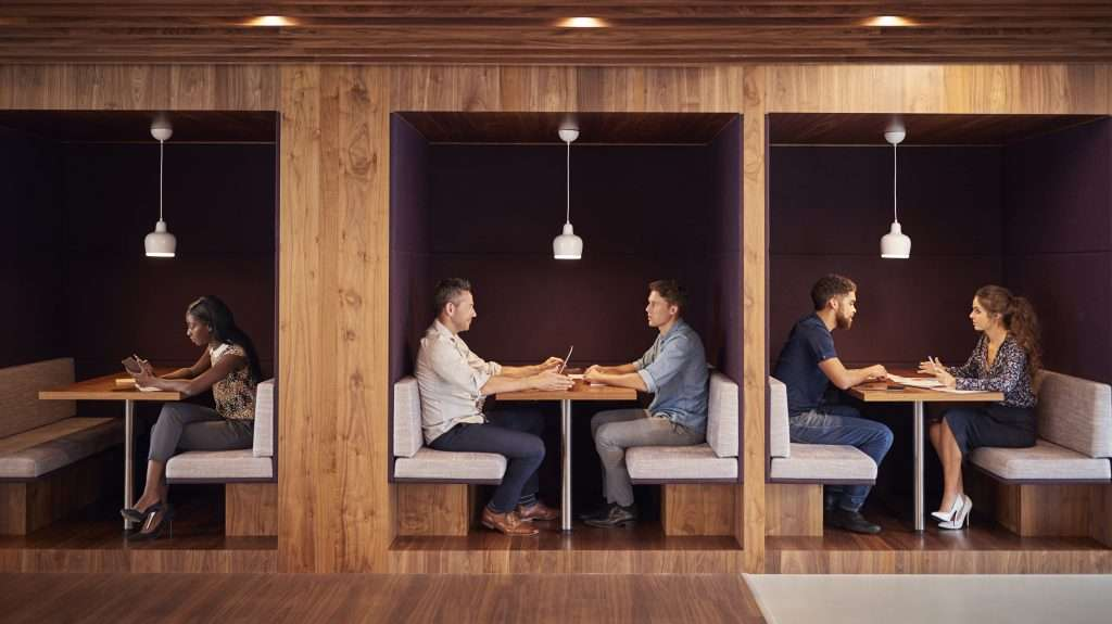 Privacy booths offer great office acoustics for meetings
