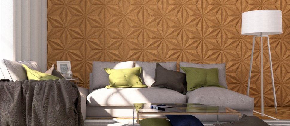 recycled cork panels look great in your living room