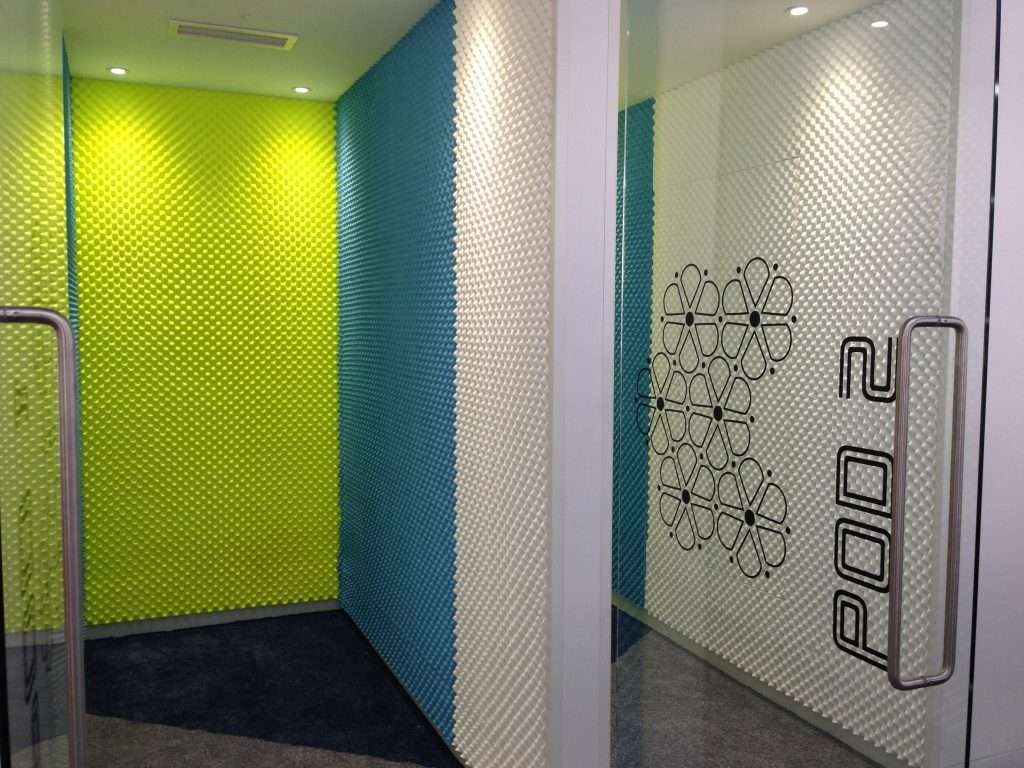 Brightly coloured acoustic foam for office pods