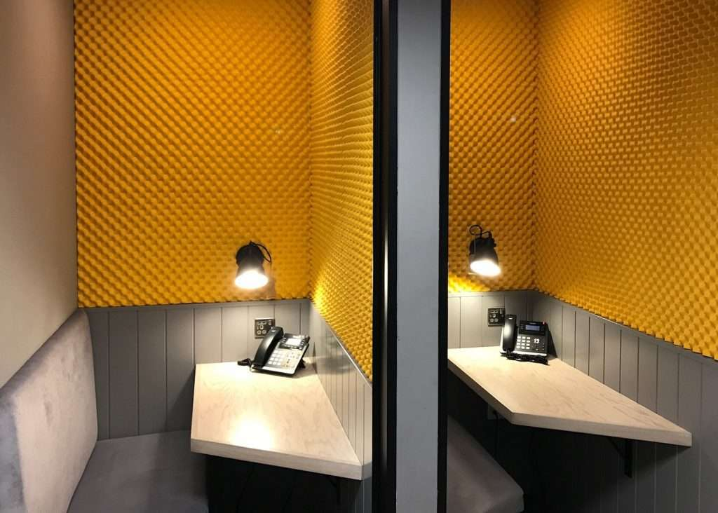 Coloured Egg profile foam in acoustic booths