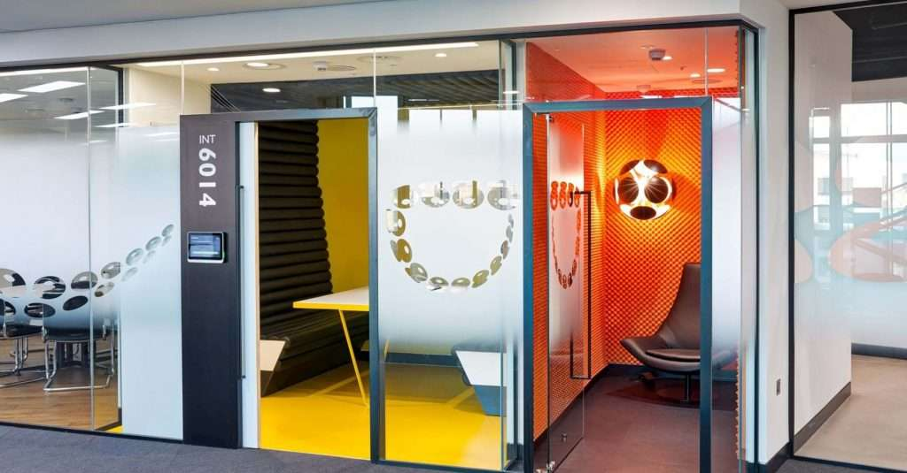 Office pods treated with colour coated foam panels