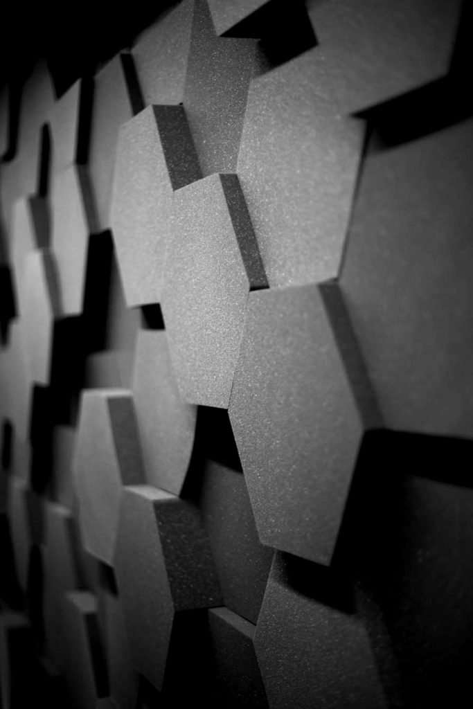 The Class '0' HEX creates a dramatic 'honeycomb' effect on your walls and can be installed to create an uneven surface, absorbing a wide range of frequencies and sound waves.