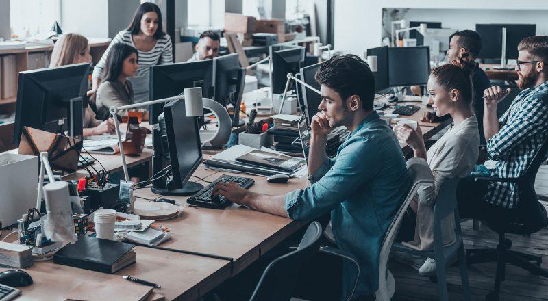 Busy open plan office