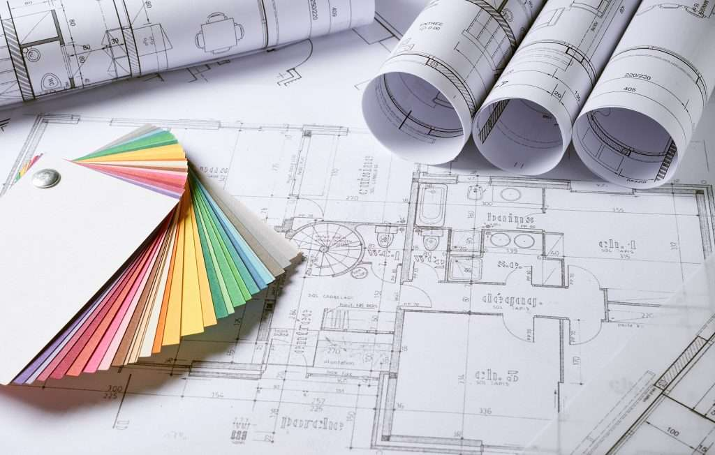 Architect drawings with colour swatch