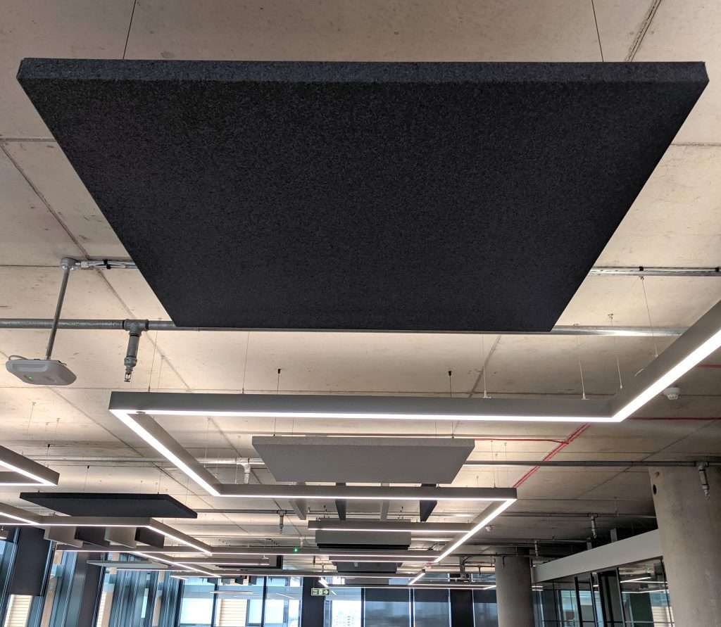 Ceiling clouds in a modern office