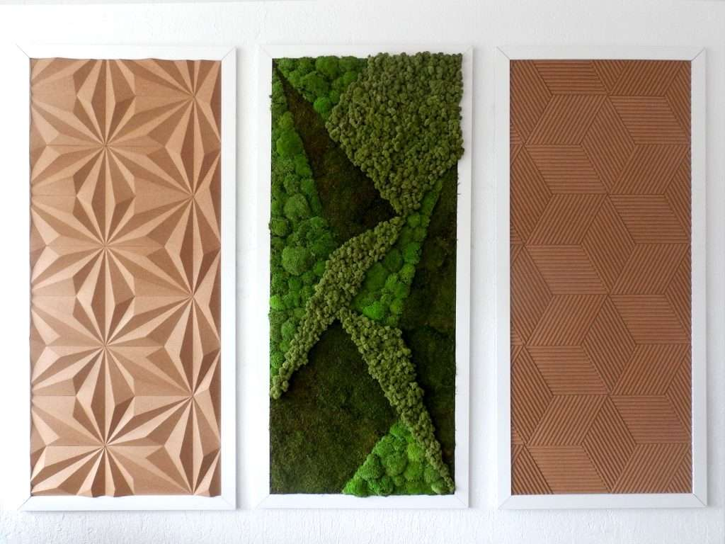 Acoustic panels made of moss and cork