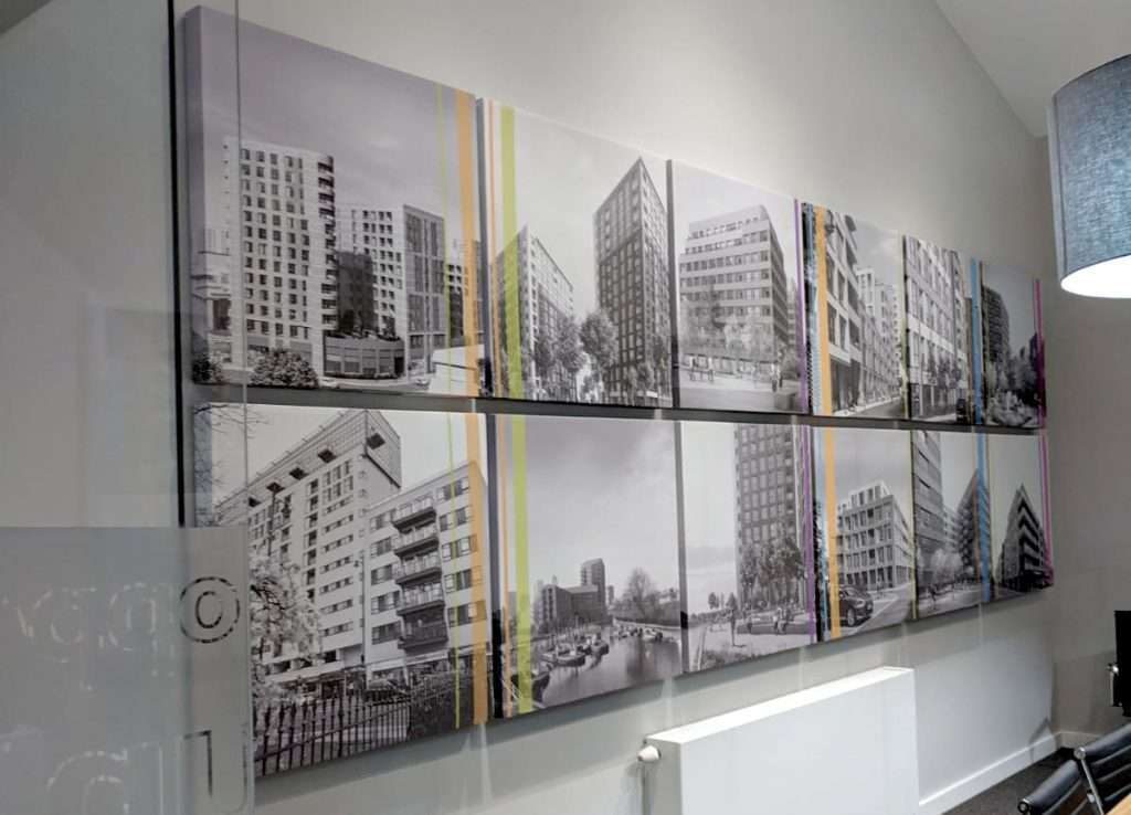 Printed Wall Panel Pros in office boardroom