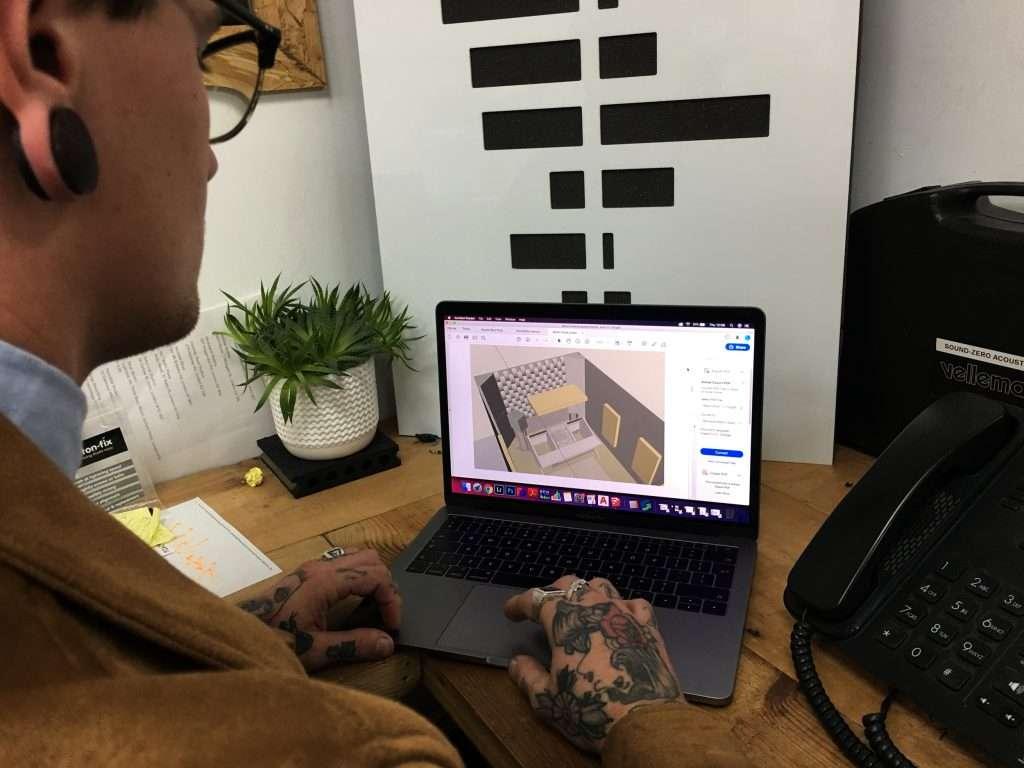 Acoustician designing a studio
