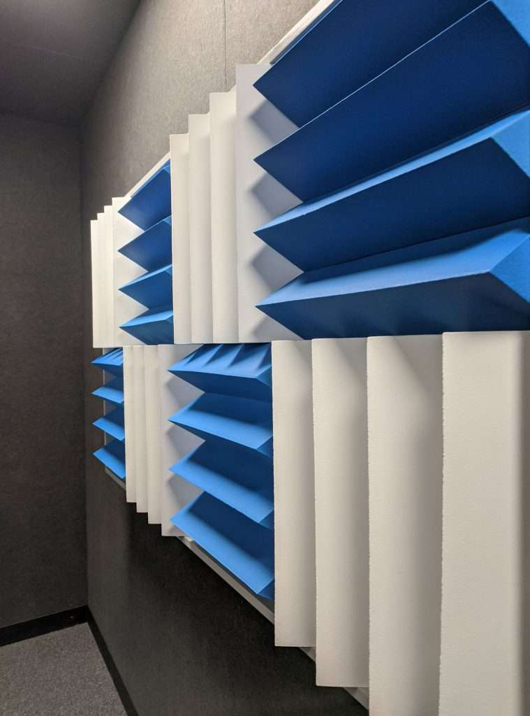 Branded acoustic treatment for podcast booth at Facebook, London