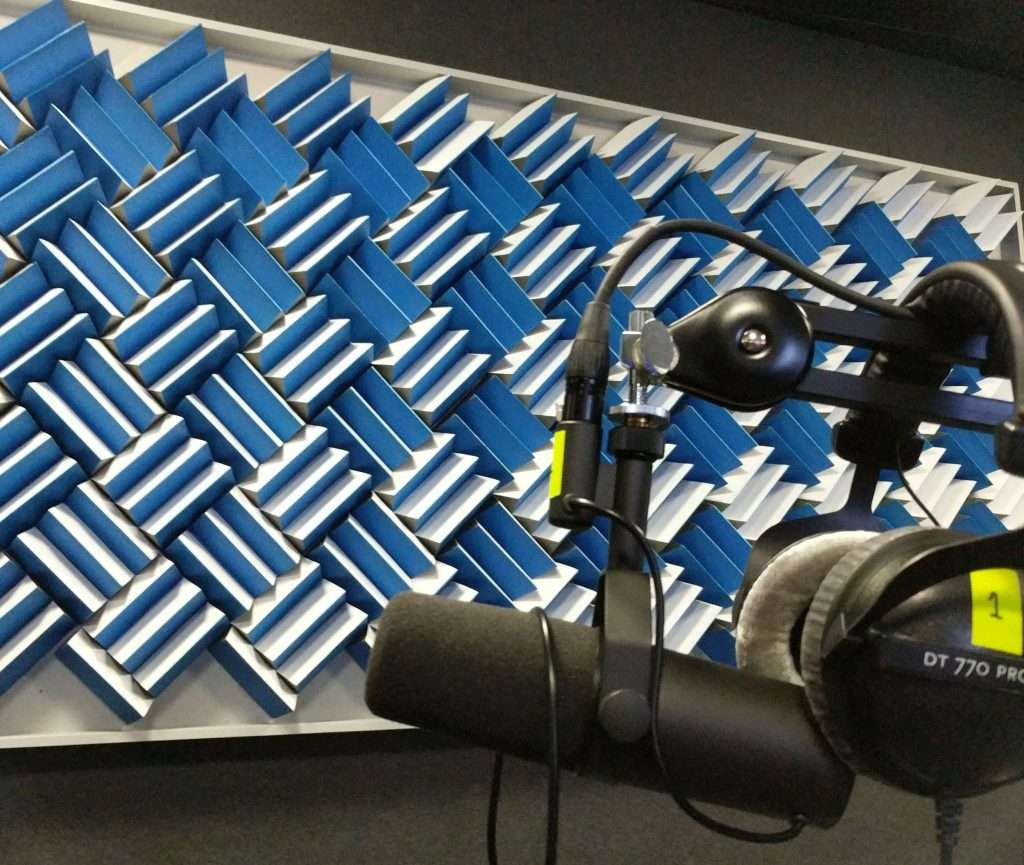 Podcast booth at Facebook, London