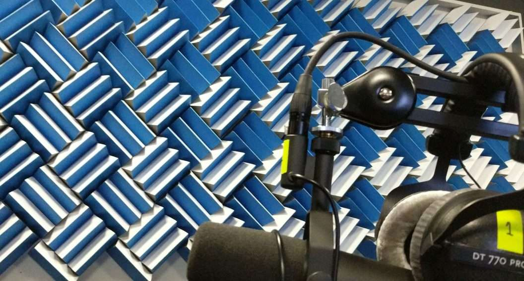 Sound-Zero designed acoustic treatment fora podcast booth at Facebook, London