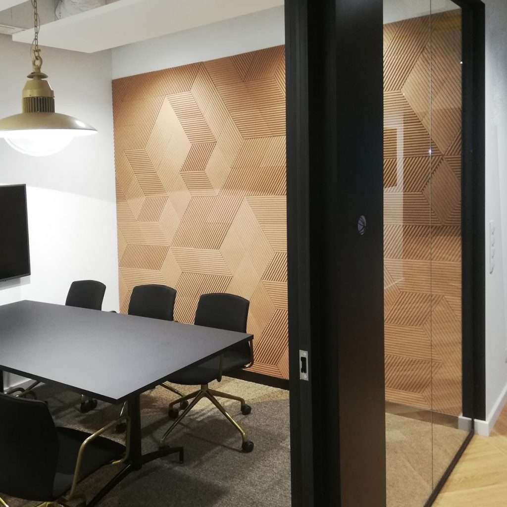 CorkBee Line feature wall in a meeting room