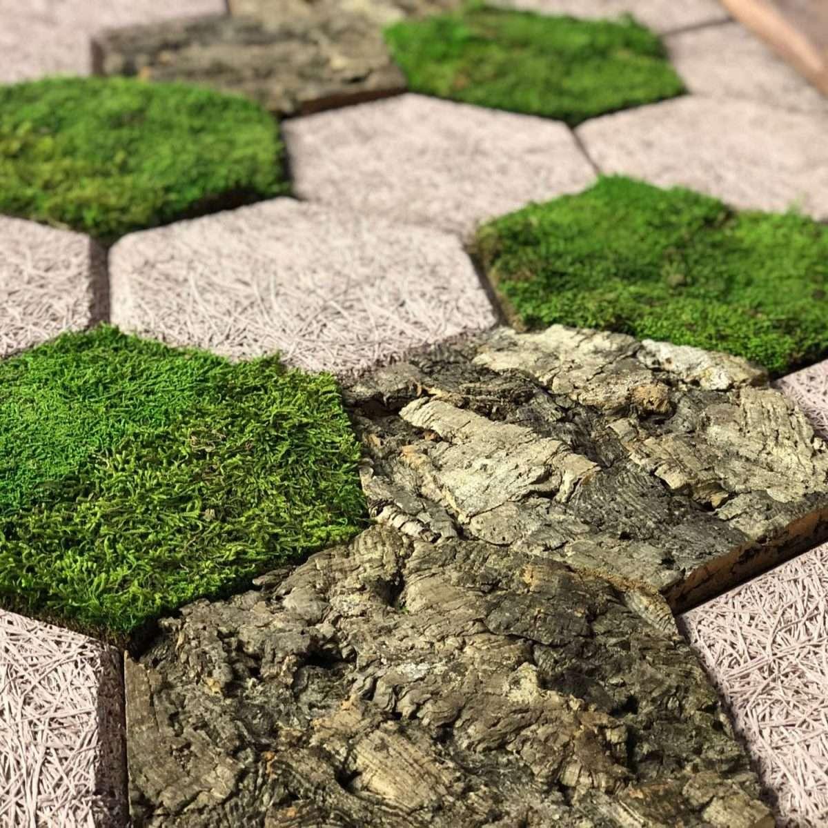 Wood Wool bark moss Panel hexagon