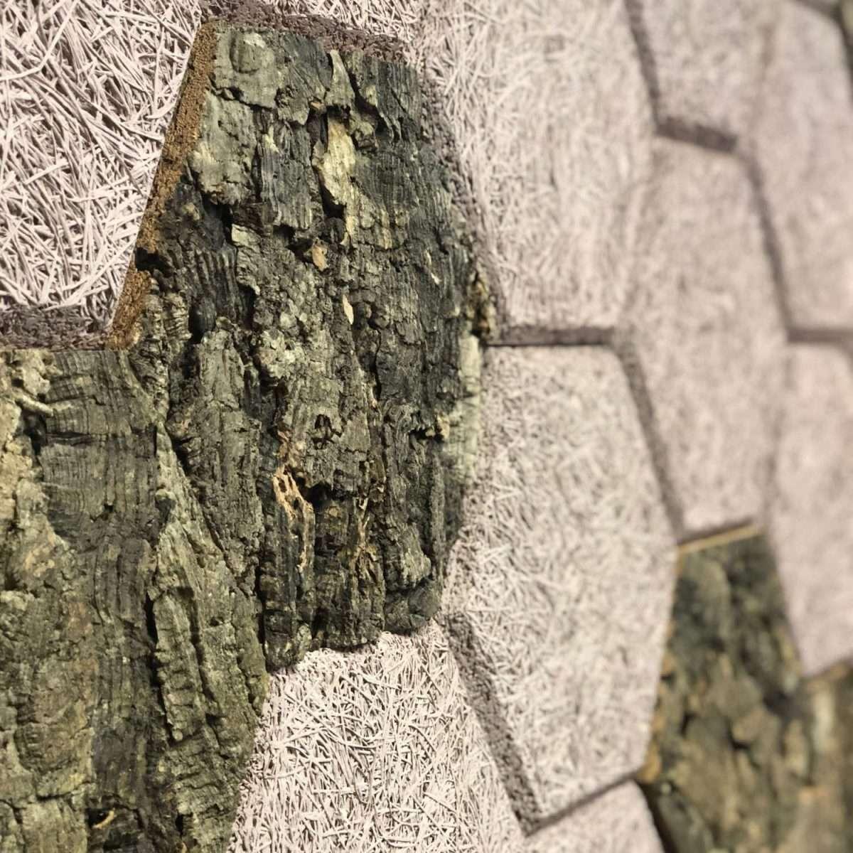 Wood Wool bark Panel hexagon