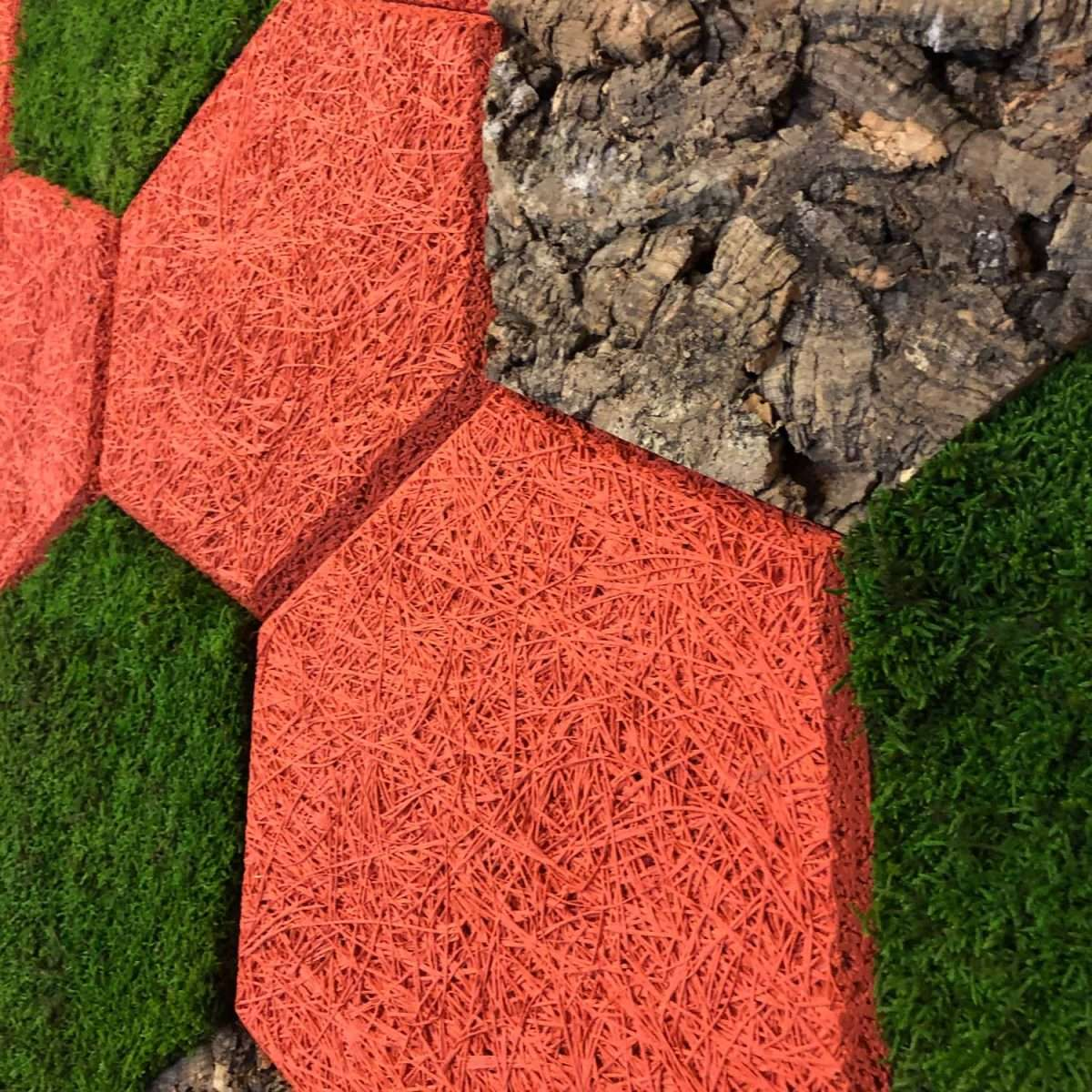 Wood Wool cork moss Panel hexagon
