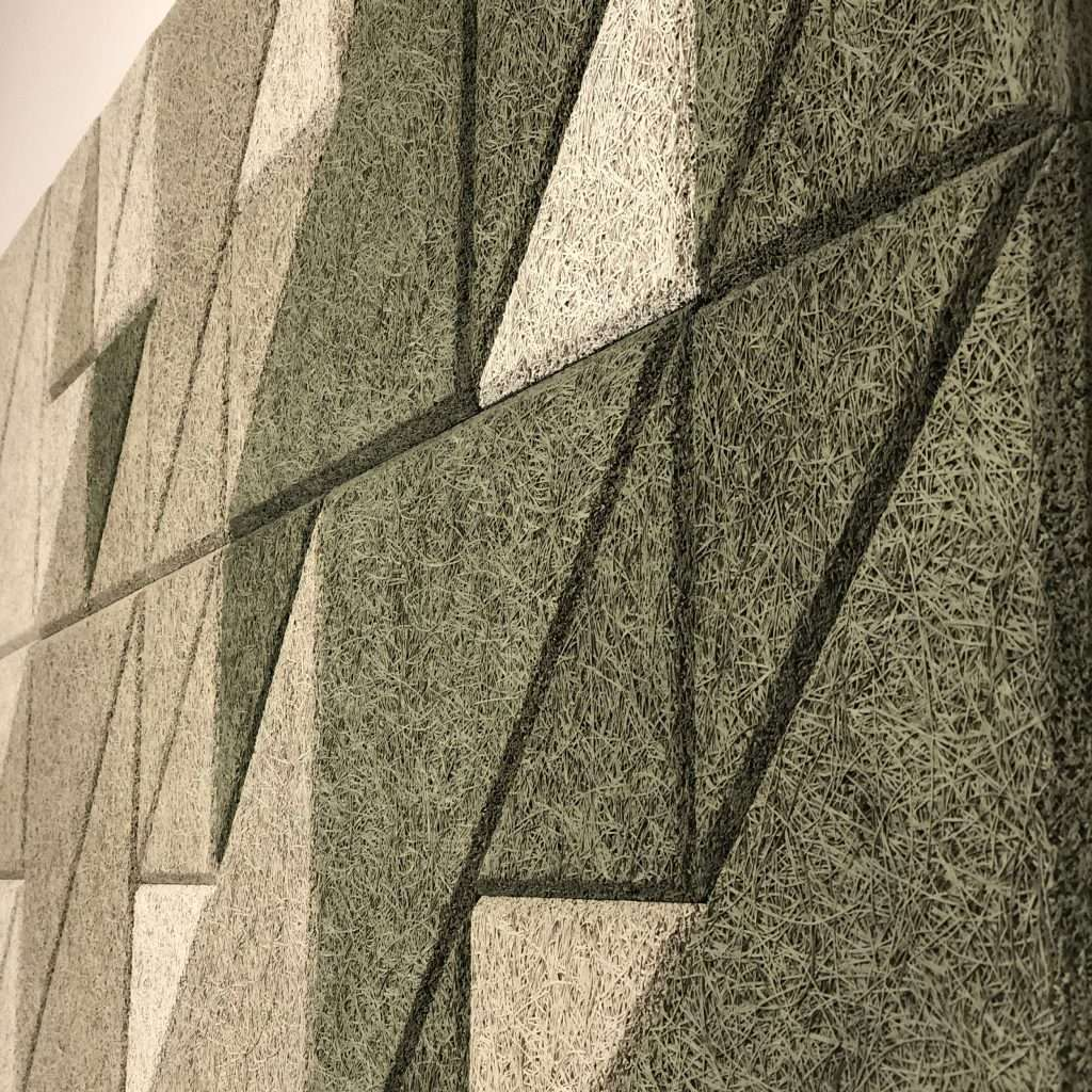 Wood Wool panels in natural tones - Triangle pattern