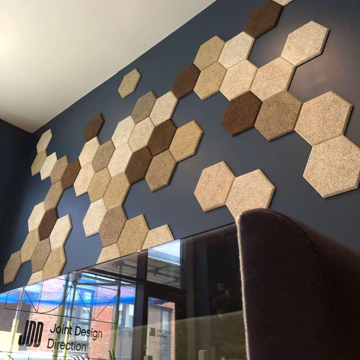 Wood Wool hexagon tiles installation