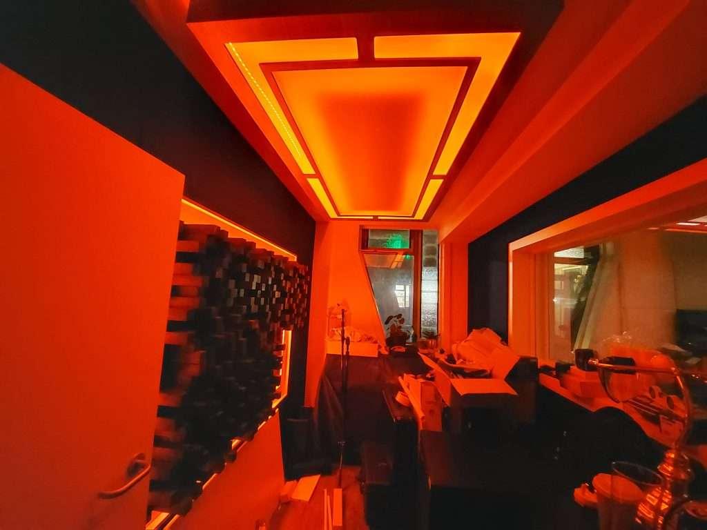 Smart lighting incorporated into music studio design by Sound Zero