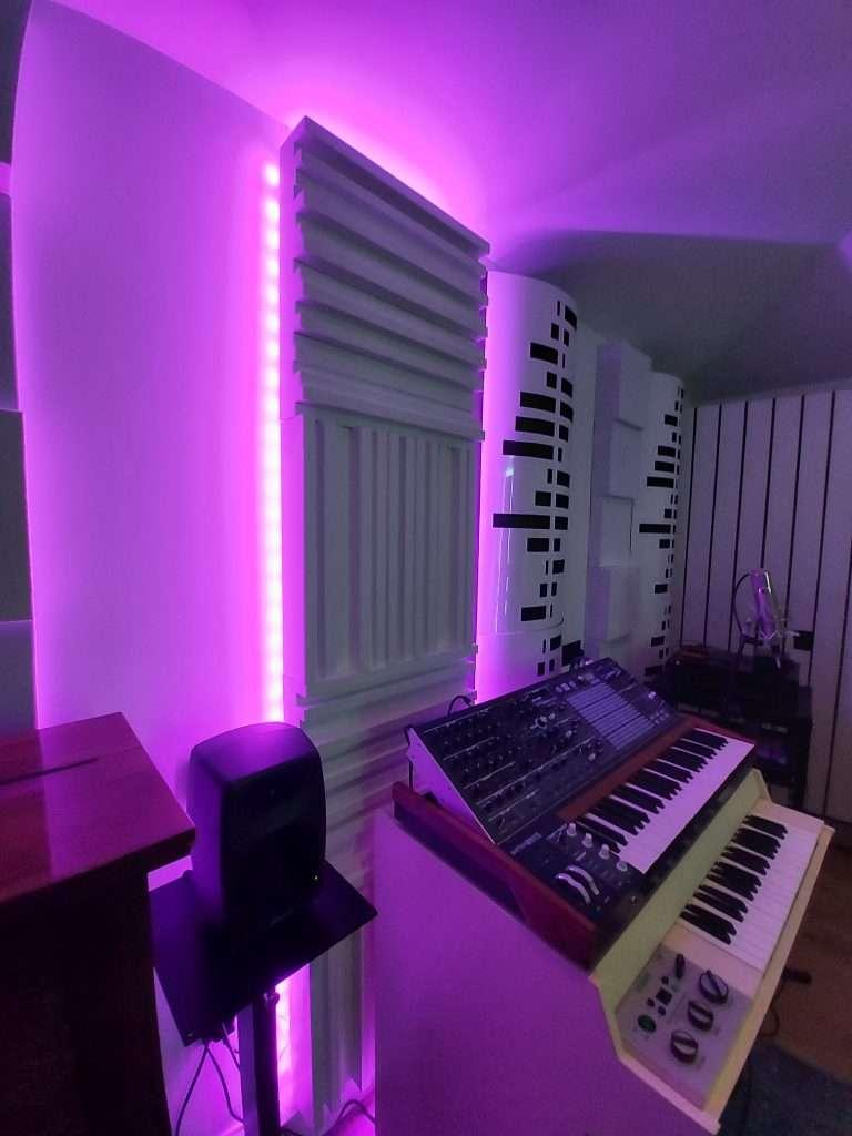 white slats and purple lighting steven wilson studio